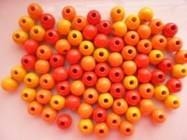 6028 110- 85 stuks houten kralenmix rood/geel/oranje 8mm