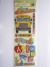 "5605- K&Co grand adh. chipboard 3D stickers ""school teksten"" 30x12cm"