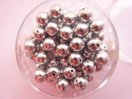 50 x ronde glasparels in een doosje 6mm zilver - 2219 675