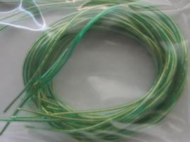 265- 10 x scoubidou touwtjes van 1 meter goud met groen