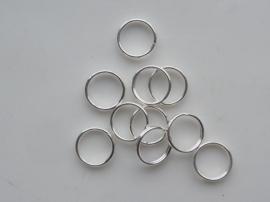 20 x dubbele ringetjes 9mm verzilverd - zeer goede kwaliteit