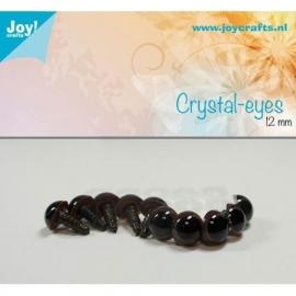 Joy6300/0607- 10 stuks kristal ogen 12mm bruin