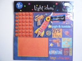 "005926- scrapkit ""light ideas boys"" met diverse accessoires en lichtraket OPRUIMING"