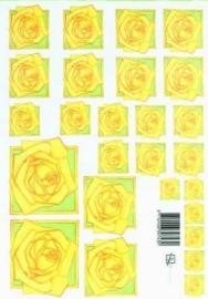 kn/1603- A4 knipvel Marjoleine gele rozen -117141/1140