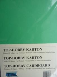 26- 20 vellen kaartkarton A5 formaat voor dubbele kaarten ca.225grams smaragd groen