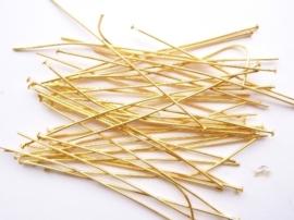 ca. 40 stuks nietstiften van 7cm extra lang in goudkleur- bijzonder stevige kwaliteit