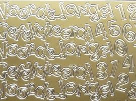 ST.1126- voor de jarige en cijfers goud 10x20cm