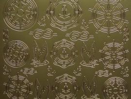 st713- sticker maritieme afbeeldingen goud 10x20cm