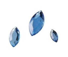 2282 551- 120 x kunststof strass stenen assortiment spitsovaal 10/15/20mm lang l.blauw