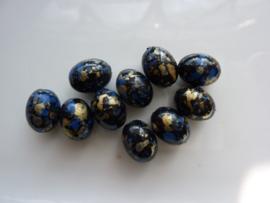 000819- 10 stuks kunststof kralen ovaal 12x9mm zwart/d.blauw/goud OPRUIMING