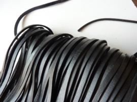 1 meter echt leren platte veter zwart van 5mm breed - SUPERLAGE PRIJS!