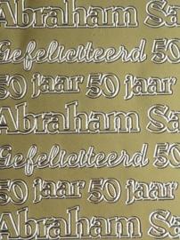 st995- stickervel met Abraham/Sara/50 10x23cm goud