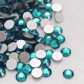 000671- ruim 100 kristalsteentjes SS12 3.5mm blue zircon - SUPERLAGE PRIJS!