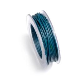 2249 543- 5 meter leren veter van 2mm dik petrol blauw