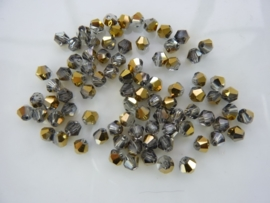 1311- ca. 85 stuks glaskralen bicone 4x4mm black diamond/goud - SUPERLAGE PRIJS!
