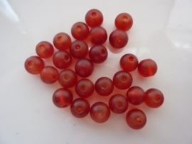 669- 25 stuks frosted glaskralen van 8mm transparant donker rood