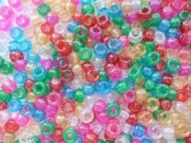 2281 921- ca. 250 stuks kinderkralen met groot gat en glitters 7mm