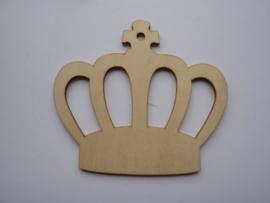 5999.S- houten ornament kroon van 9x8cm en 2mm dik OPRUIMING