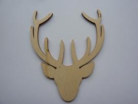 5999.U- houten ornament hert van 9x7.5cm en 2mm dik OPRUIMING