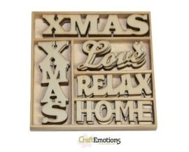 CE811500/0220- 25 stuks houten ornamentjes in een doosje kerst 10.5x10.5cm