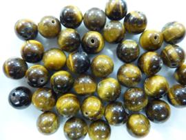 3739- ca. 40 stuks tijgeroog glaskralen van 10mm geelbruin