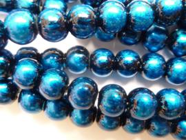 3744- ruim 100 stuks baking painted glaskralen van 6mm dodger blue