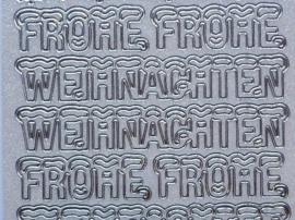 st1051- parelmoer stickervel wit/zilver tekst Frohe Weinachten met sneeuwlaagje 10x20cm