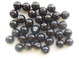 2233- 35 x ronde glasparels 10mm zwart - speciale prijs zolang de vooraad strekt!