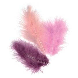 006619/0928- 15 stuks verenmix maraboe paars/roze van 10cm