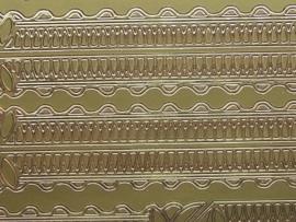st705- sticker randjes en kleine ornamenten 16mm breed 10x20cm goud