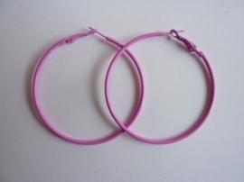 1 paar Creolen oorringen van 6cm doorsnee roze/cerise