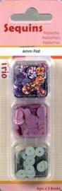 118370/7302- paillettentrio 6mm plat lila 12gr