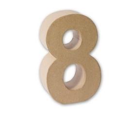 1929 3138- eco shape stevige decoratie cijfer van papier mache - 3D cijfer 8