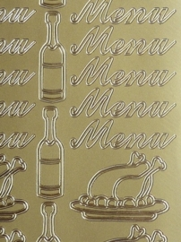 st990- stickervel met tekst menu en afbeeldingen wijn en kalkoen 10x23cm goud