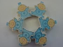 CH.032- 6 stuks wasknijpers babyblauw met baby figuurtjes - SUPERLAGE PRIJS!