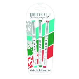 CE309908/6114- Nuvo brush script pens - vivid kaleidoscope 114N - 3 stuks