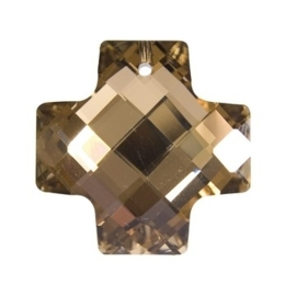 117471/6332- glazen facet geslepen hanger kruis 30mm cognac