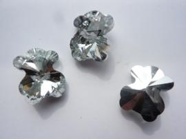 117471/0837- electroplate glashanger beer kristal helder zilver 20x25x13mm