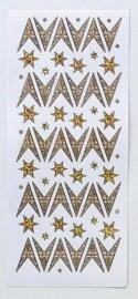 St 750- stickervel sterren Leane diamant goud 10x23cm - 121001/2422