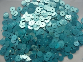 10 gram pailletten van 6mm glad turquoise AB (grote hoeveelheid) SUPERLAGE PRIJS!