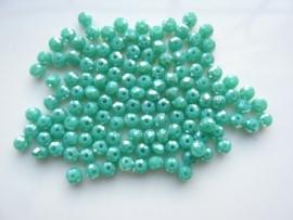 3913- ca. 145 stuks geslepen glaskralen van 4x3mm groen turquoise AB - SUPERLAGE PRIJS!