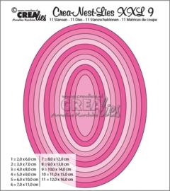CE115634/0009- Crealies Crea-nest-lies XXL - no.9 ovalen 11 stuks van 2 tot 16cm