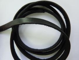 1 meter echt leren platte veter zwart van 8mm breed - AA kwaliteit - SUPERLAGE PRIJS!