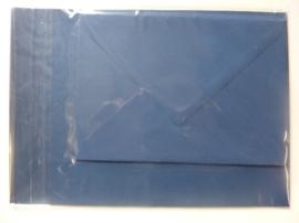 008205- 3 x A4 formaat kaarten gerild + 3 x enveloppen A5 formaat d.blauw OPRUIMING -50%