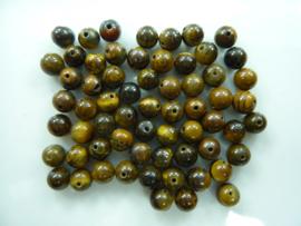 3733- ca. 65 stuks tijgeroog glaskralen van 6mm geelbruin