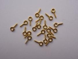 CH.561.20- 20 stuks mini schroefoogjes 8 x 4 mm goudkleur