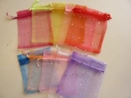 10 x organza zakjes kleurenmix met zilverstipjes 12x9.5cm - SUPERLAGE PRIJS!