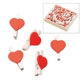 8001 618- 12 stuks houten wasknijpers met hartjes decoratie van 2.5cm