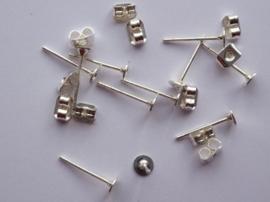 CH.903.10- 10 stuks platte oorstekers met schuifjes 4mm - SUPERLAGE PRIJS!