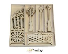 CE811500/0214- 25 stuks houten ornamentjes in een doosje sierhek/lantaarn 16.8x16.8cm